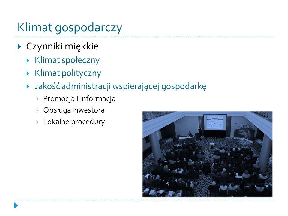 Klimat gospodarczy Czynniki miękkie Klimat społeczny Klimat polityczny Jakość administracji wspierającej gospodarkę Promocja i informacja Obsługa inwe