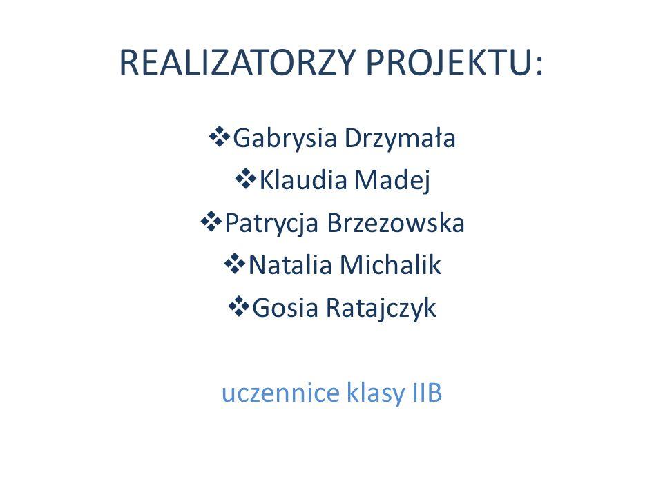 REALIZATORZY PROJEKTU: Gabrysia Drzymała Klaudia Madej Patrycja Brzezowska Natalia Michalik Gosia Ratajczyk uczennice klasy IIB