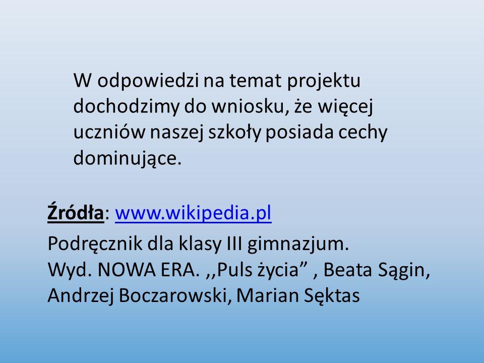 Źródła: www.wikipedia.plwww.wikipedia.pl Podręcznik dla klasy III gimnazjum. Wyd. NOWA ERA.,,Puls życia, Beata Sągin, Andrzej Boczarowski, Marian Sękt