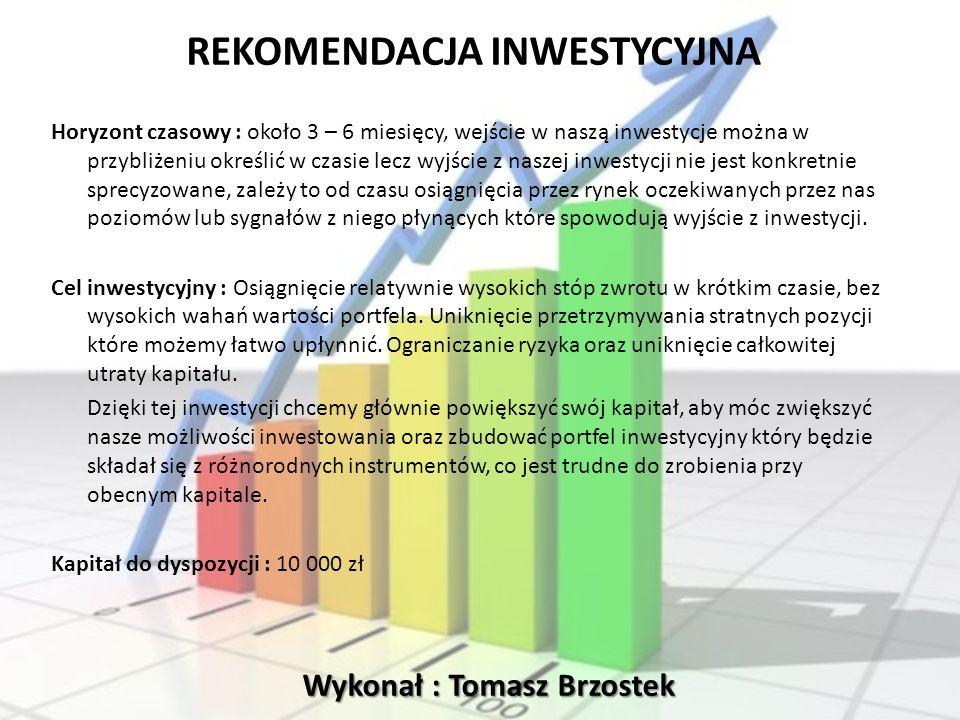 Wykonał : Tomasz Brzostek REKOMENDACJA INWESTYCYJNA Horyzont czasowy : około 3 – 6 miesięcy, wejście w naszą inwestycje można w przybliżeniu określić