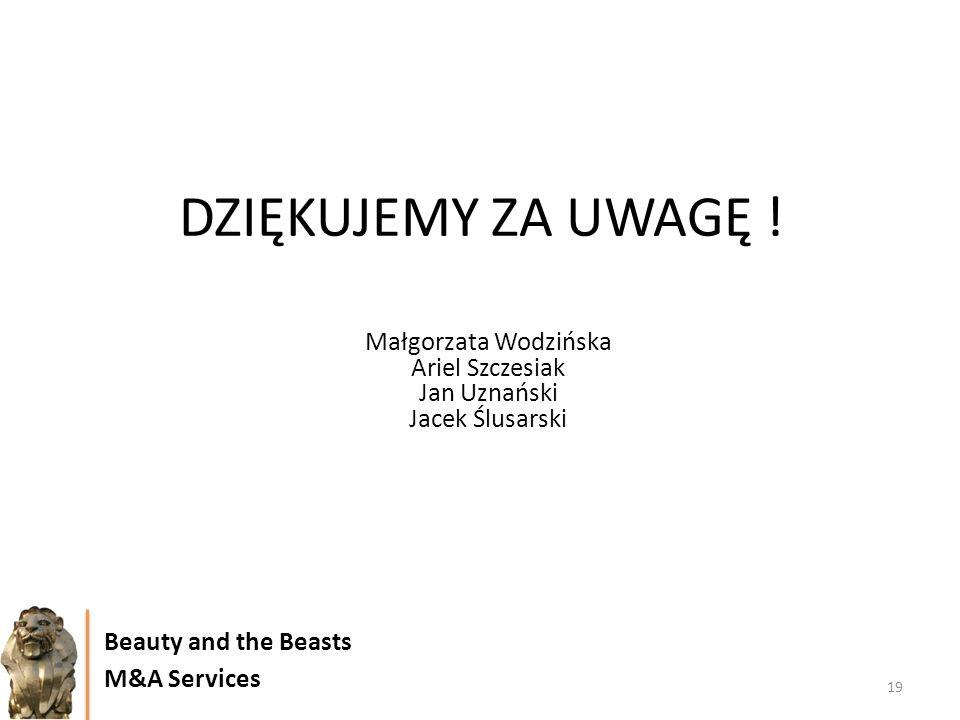 DZIĘKUJEMY ZA UWAGĘ ! 19 Beauty and the Beasts M&A Services Małgorzata Wodzińska Ariel Szczesiak Jan Uznański Jacek Ślusarski
