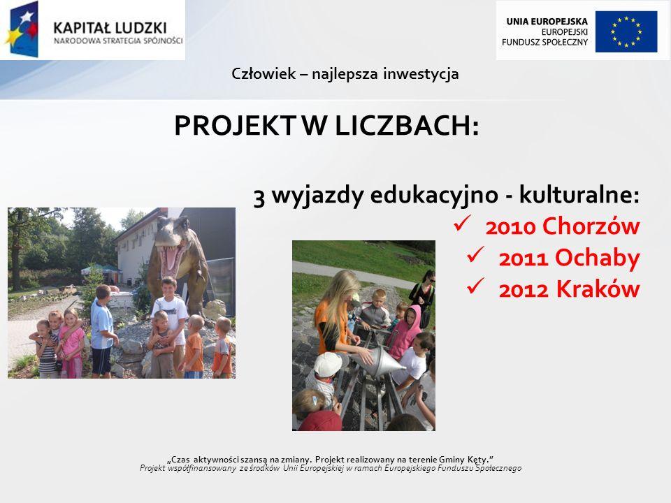 Człowiek – najlepsza inwestycja PROJEKT W LICZBACH: 3 wyjazdy edukacyjno - kulturalne: 2010 Chorzów 2011 Ochaby 2012 Kraków Czas aktywności szansą na