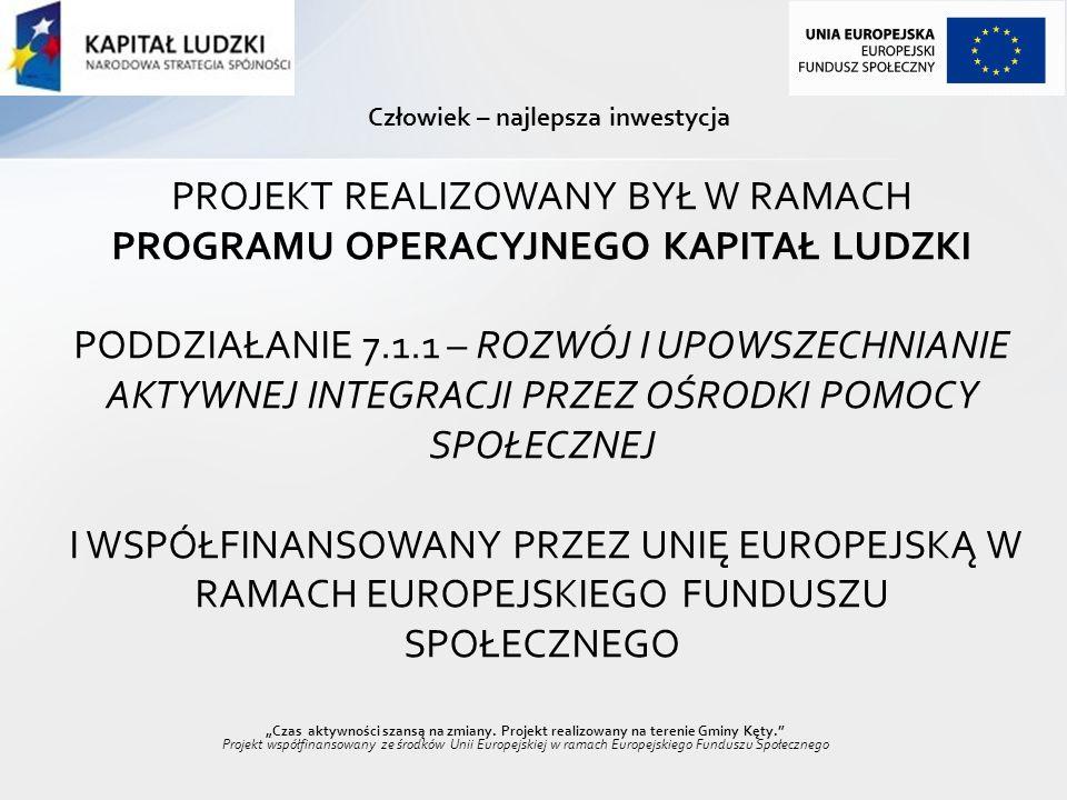 Czas aktywności szansą na zmiany. Projekt realizowany na terenie Gminy Kęty. Projekt współfinansowany ze środków Unii Europejskiej w ramach Europejski