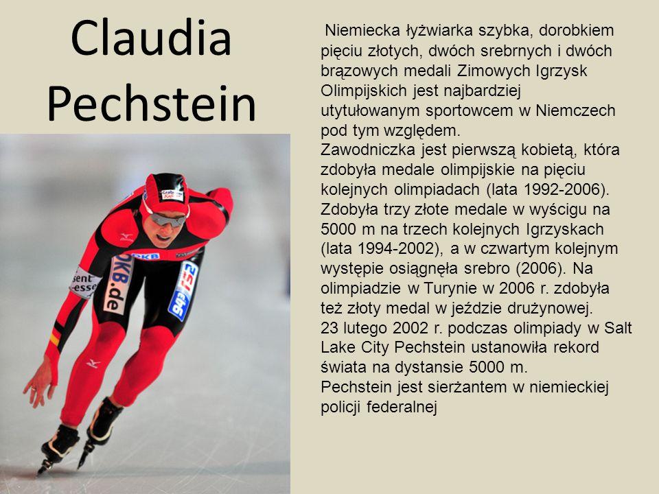 Claudia Pechstein Niemiecka łyżwiarka szybka, dorobkiem pięciu złotych, dwóch srebrnych i dwóch brązowych medali Zimowych Igrzysk Olimpijskich jest na