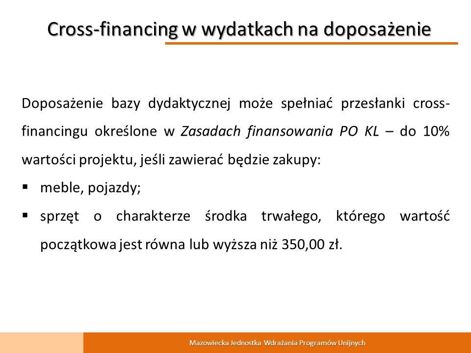 Mazowiecka Jednostka Wdrażania Programów Unijnych Doposażenie bazy dydaktycznej może spełniać przesłanki cross- financingu określone w Zasadach finansowania PO KL – do 10% wartości projektu, jeśli zawierać będzie zakupy: meble, pojazdy; sprzęt o charakterze środka trwałego, którego wartość początkowa jest równa lub wyższa niż 350,00 zł.