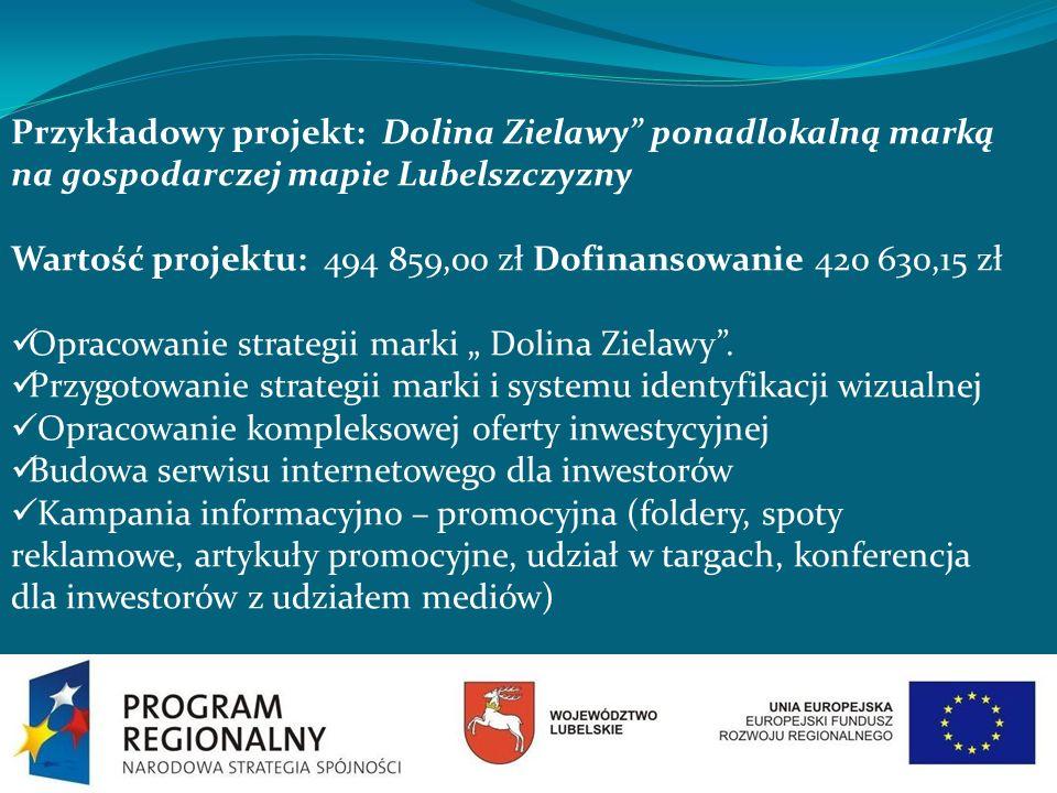 Przykładowy projekt: Dolina Zielawy ponadlokalną marką na gospodarczej mapie Lubelszczyzny Wartość projektu: 494 859,00 zł Dofinansowanie 420 630,15 z