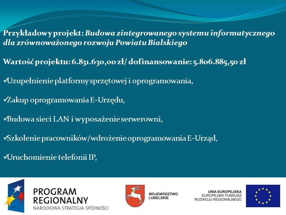 Przykładowy projekt: Budowa zintegrowanego systemu informatycznego dla zrównoważonego rozwoju Powiatu Bialskiego Wartość projektu: 6.831.630,00 zł/ do