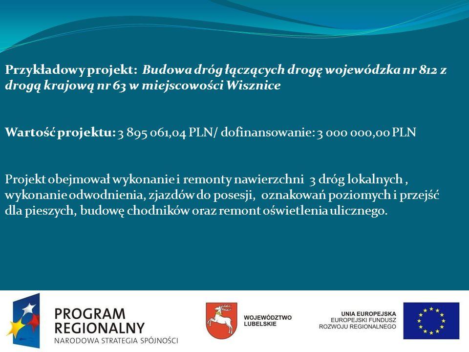 Przykładowy projekt: Budowa dróg łączących drogę wojewódzka nr 812 z drogą krajową nr 63 w miejscowości Wisznice Wartość projektu: 3 895 061,04 PLN/ d