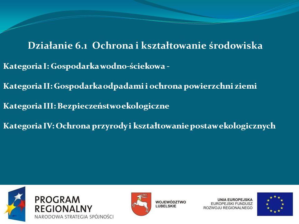 Działanie 6.1 Ochrona i kształtowanie środowiska Kategoria I: Gospodarka wodno-ściekowa - Kategoria II: Gospodarka odpadami i ochrona powierzchni ziem