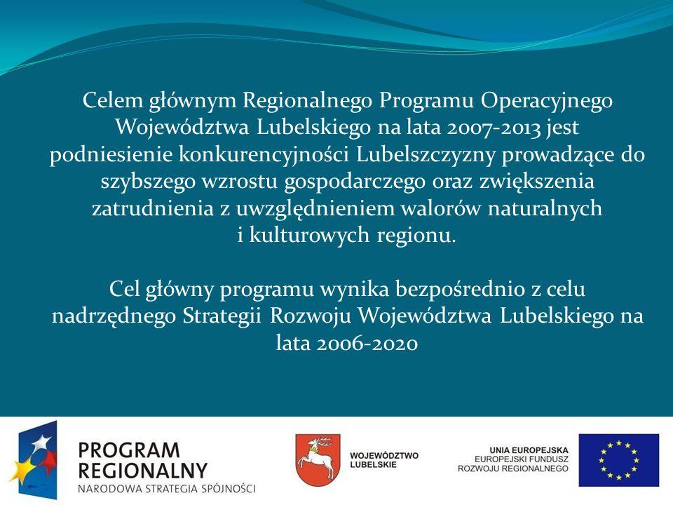 Cel główny zrealizowany będzie poprzez osiąganie następujących celów szczegółowych: 1.Zwiększenie konkurencyjności regionu poprzez wsparcie rozwoju sektorów nowoczesnej gospodarki oraz przez stymulowanie innowacyjności 2.Poprawa warunków inwestowania w województwie z poszanowaniem zasady zrównoważonego rozwoju 3.Zwiększenie atrakcyjności Lubelszczyzny jako miejsca do zamieszkania, pracy i wypoczynku