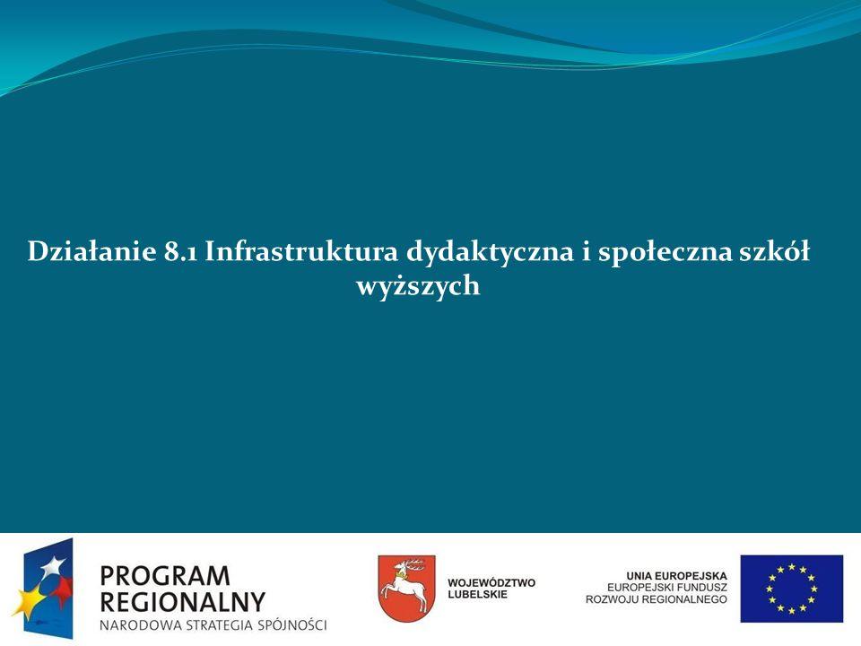 Działanie 8.1 Infrastruktura dydaktyczna i społeczna szkół wyższych