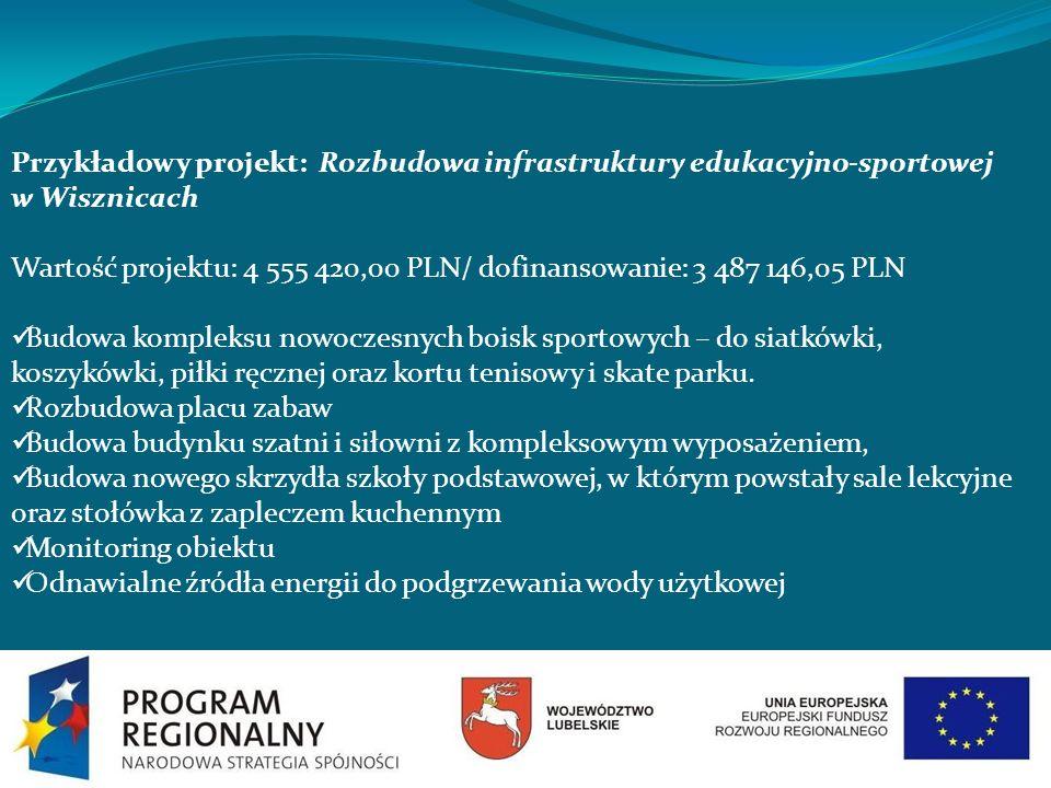 Przykładowy projekt: Rozbudowa infrastruktury edukacyjno-sportowej w Wisznicach Wartość projektu: 4 555 420,00 PLN/ dofinansowanie: 3 487 146,05 PLN B