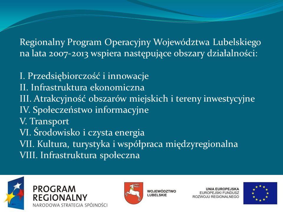 Regionalny Program Operacyjny Województwa Lubelskiego na lata 2007-2013 wspiera następujące obszary działalności: I. Przedsiębiorczość i innowacje II.