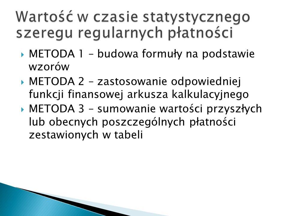 METODA 1 – budowa formuły na podstawie wzorów METODA 2 – zastosowanie odpowiedniej funkcji finansowej arkusza kalkulacyjnego METODA 3 – sumowanie wart