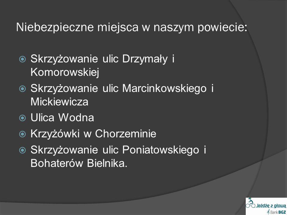 Niebezpieczne miejsca w naszym powiecie: Skrzyżowanie ulic Drzymały i Komorowskiej Skrzyżowanie ulic Marcinkowskiego i Mickiewicza Ulica Wodna Krzyżów