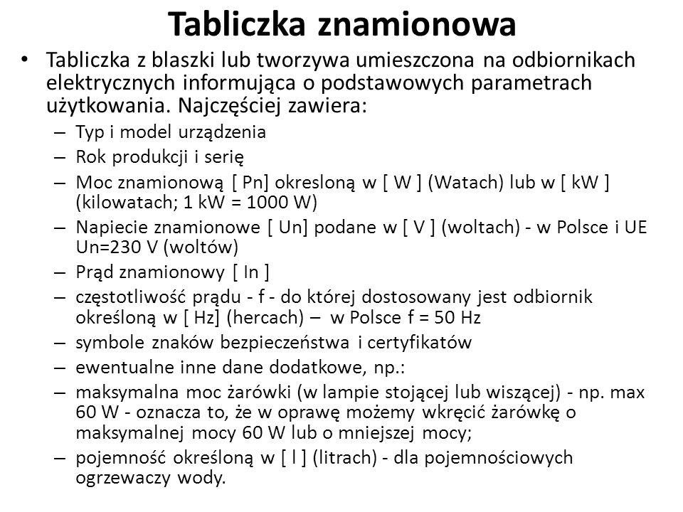 Tabliczka znamionowa Tabliczka z blaszki lub tworzywa umieszczona na odbiornikach elektrycznych informująca o podstawowych parametrach użytkowania.
