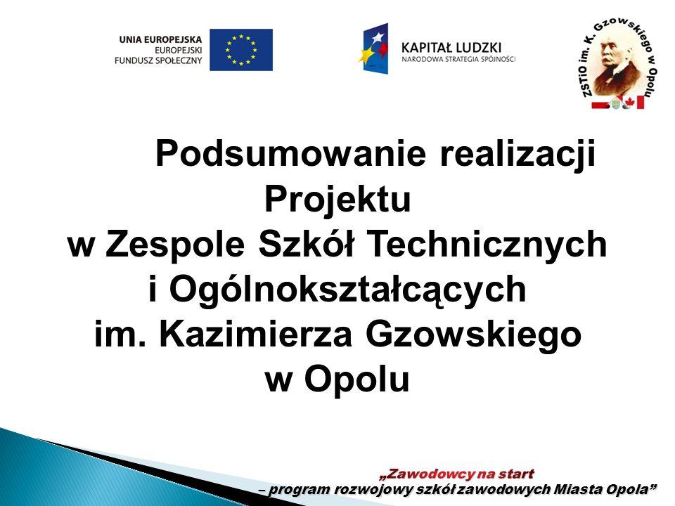 Podsumowanie realizacji Projektu w Zespole Szkół Technicznych i Ogólnokształcących im. Kazimierza Gzowskiego w Opolu