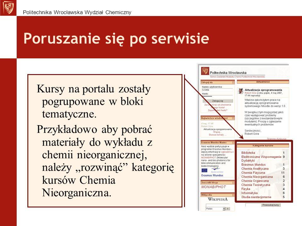 Poruszanie się po serwisie Kursy na portalu zostały pogrupowane w bloki tematyczne.