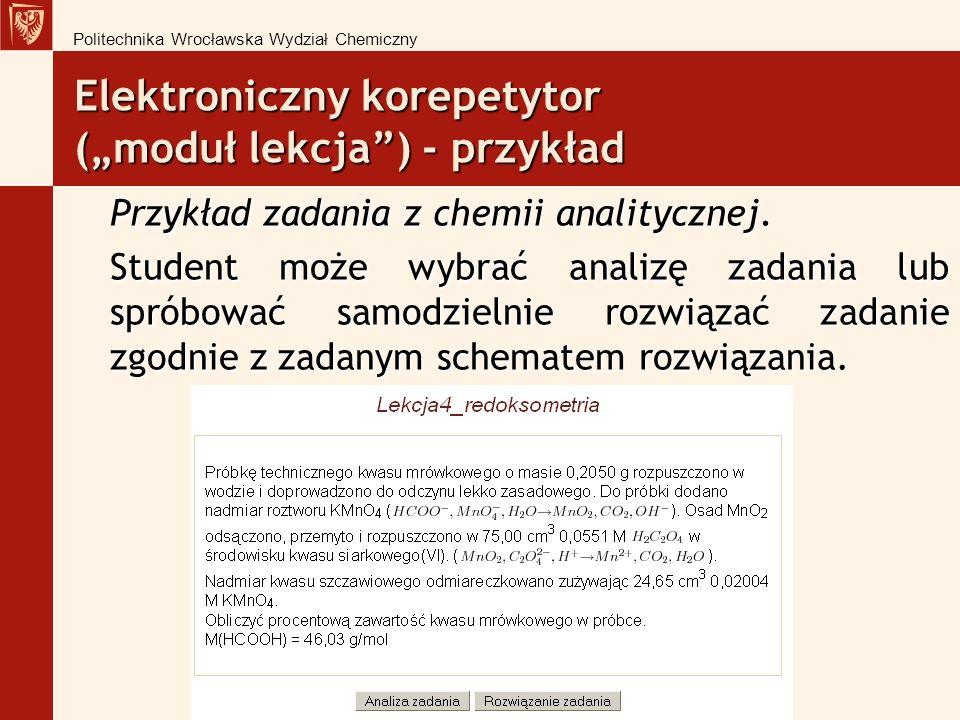 Elektroniczny korepetytor (moduł lekcja) - przykład Przykład zadania z chemii analitycznej.