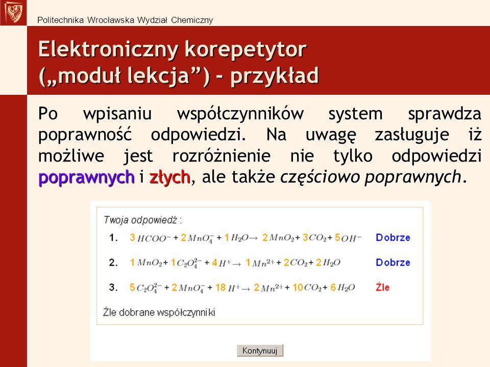Elektroniczny korepetytor (moduł lekcja) - przykład Po wpisaniu współczynników system sprawdza poprawność odpowiedzi.
