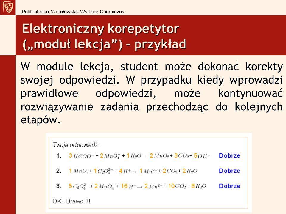 Elektroniczny korepetytor (moduł lekcja) - przykład W module lekcja, student może dokonać korekty swojej odpowiedzi.