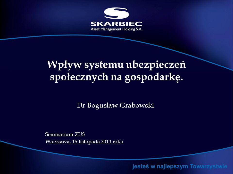 Wpływ systemu ubezpieczeń społecznych na gospodarkę. Dr Bogusław Grabowski Seminarium ZUS Warszawa, 15 listopada 2011 roku