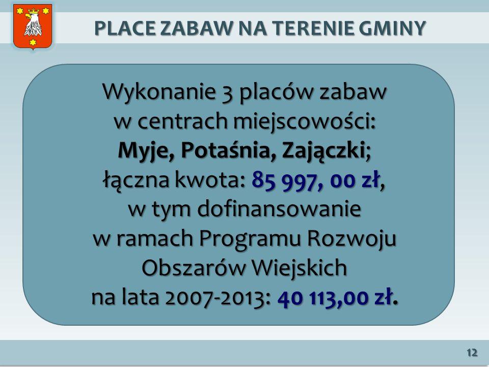 PLACE ZABAW NA TERENIE GMINY PLACE ZABAW NA TERENIE GMINY 12 Wykonanie 3 placów zabaw w centrach miejscowości: Myje, Potaśnia, Zajączki; łączna kwota: 85 997, 00 zł, w tym dofinansowanie w ramach Programu Rozwoju Obszarów Wiejskich na lata 2007-2013: 40 113,00 zł.