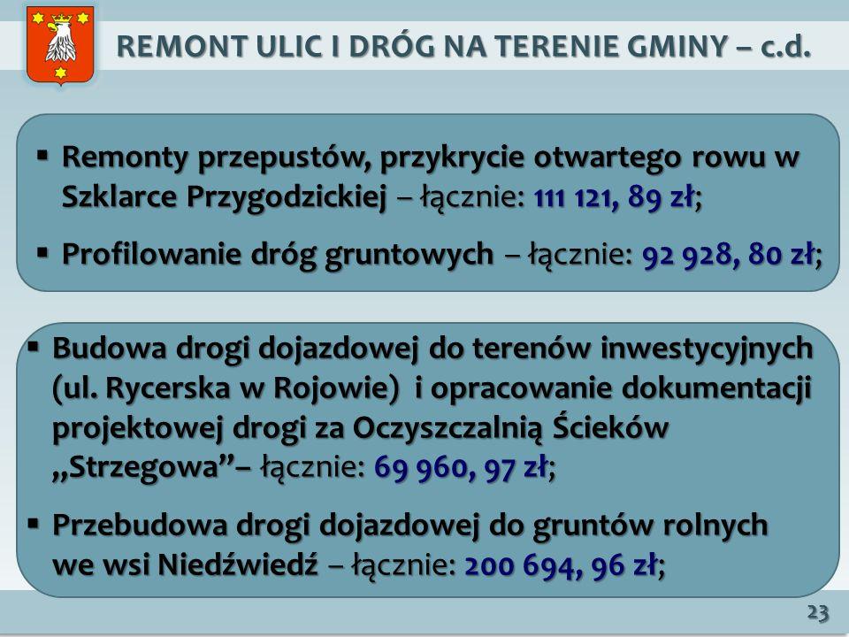 REMONT ULIC I DRÓG NA TERENIE GMINY – c.d.REMONT ULIC I DRÓG NA TERENIE GMINY – c.d.