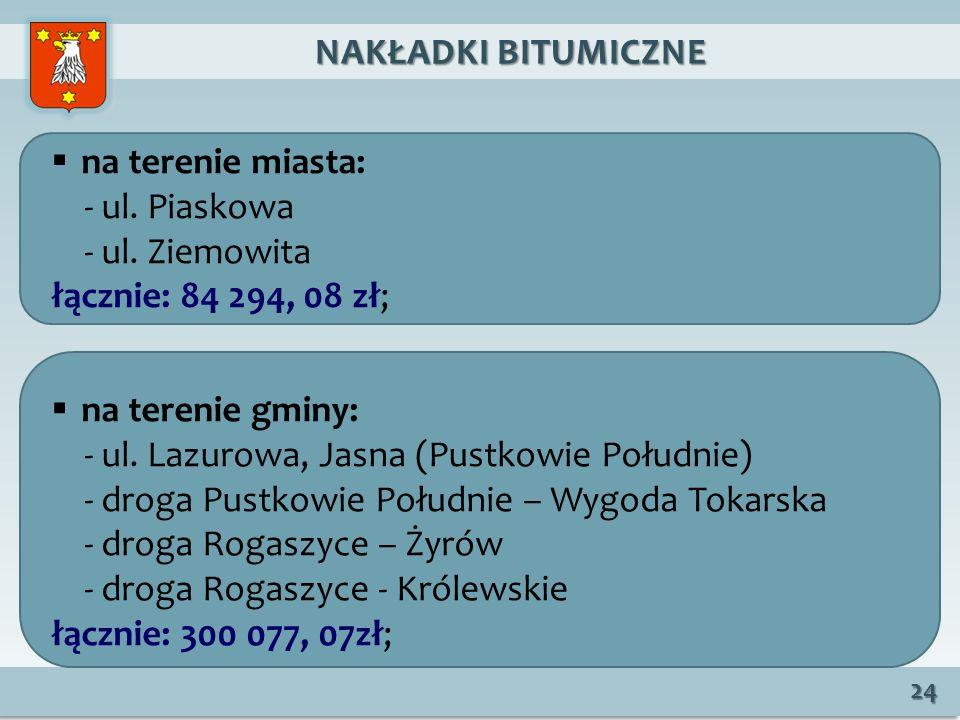 NAKŁADKI BITUMICZNE NAKŁADKI BITUMICZNE 24 na terenie miasta: - ul.