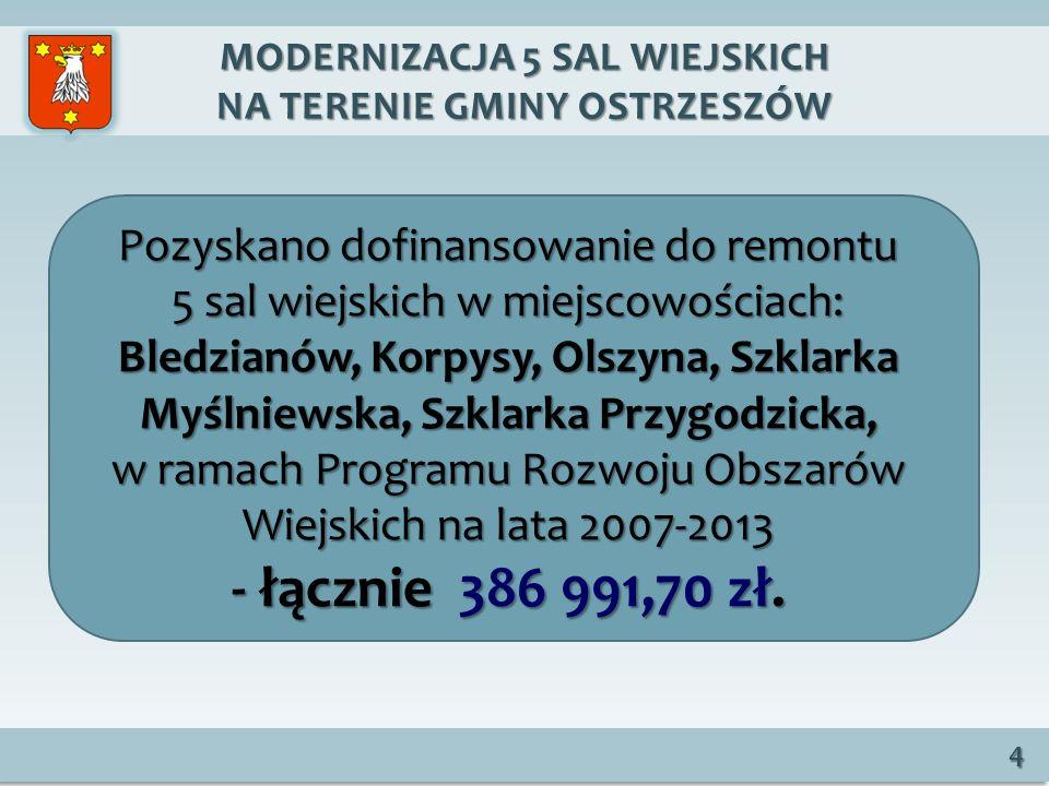 MODERNIZACJA 5 SAL WIEJSKICH NA TERENIE GMINY OSTRZESZÓW 4 Pozyskano dofinansowanie do remontu 5 sal wiejskich w miejscowościach: Bledzianów, Korpysy, Olszyna, Szklarka Myślniewska, Szklarka Przygodzicka, w ramach Programu Rozwoju Obszarów Wiejskich na lata 2007-2013 - łącznie 386 991,70 zł.
