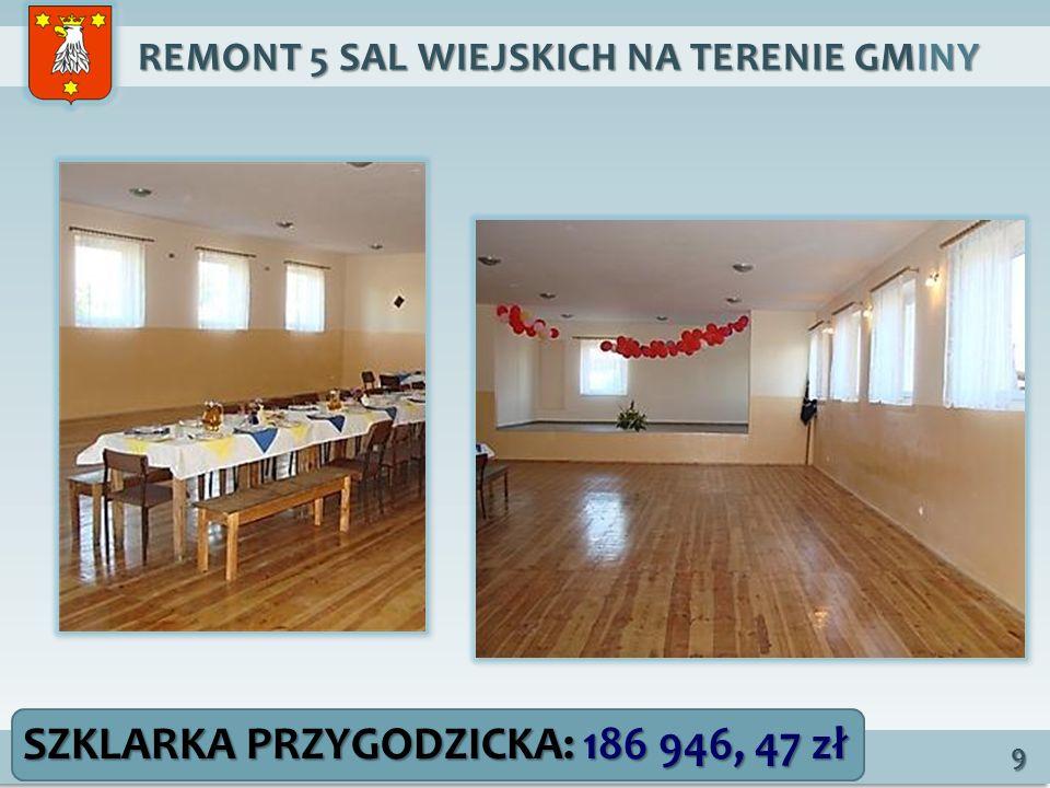 REMONT 5 SAL WIEJSKICH NA TERENIE GMINY REMONT 5 SAL WIEJSKICH NA TERENIE GMINY 9 SZKLARKA PRZYGODZICKA: 186 946, 47 zł