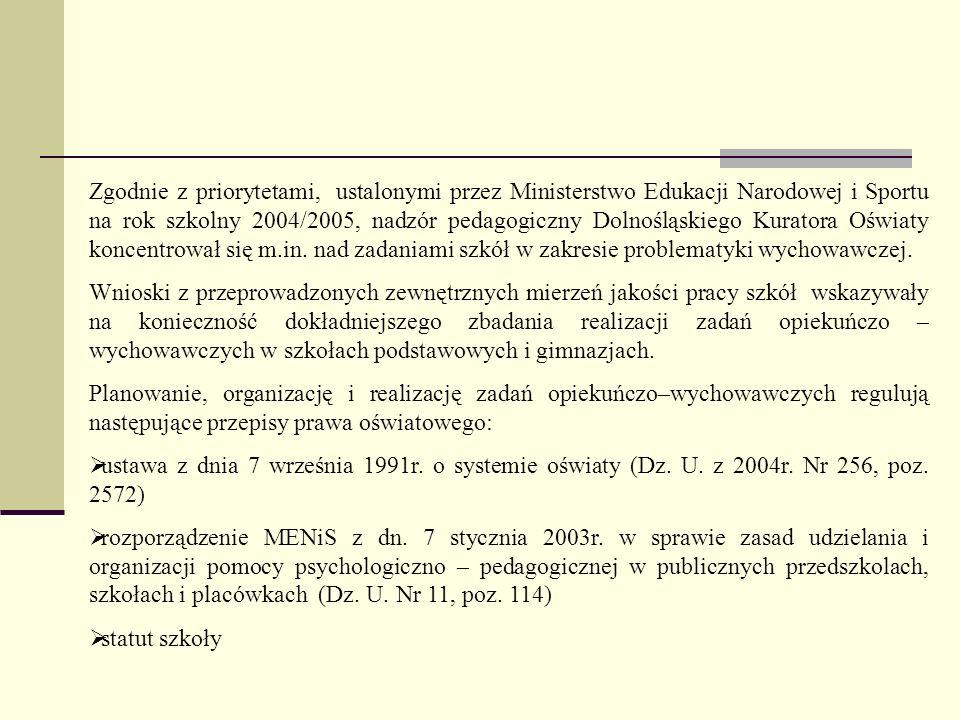 Zgodnie z priorytetami, ustalonymi przez Ministerstwo Edukacji Narodowej i Sportu na rok szkolny 2004/2005, nadzór pedagogiczny Dolnośląskiego Kurator