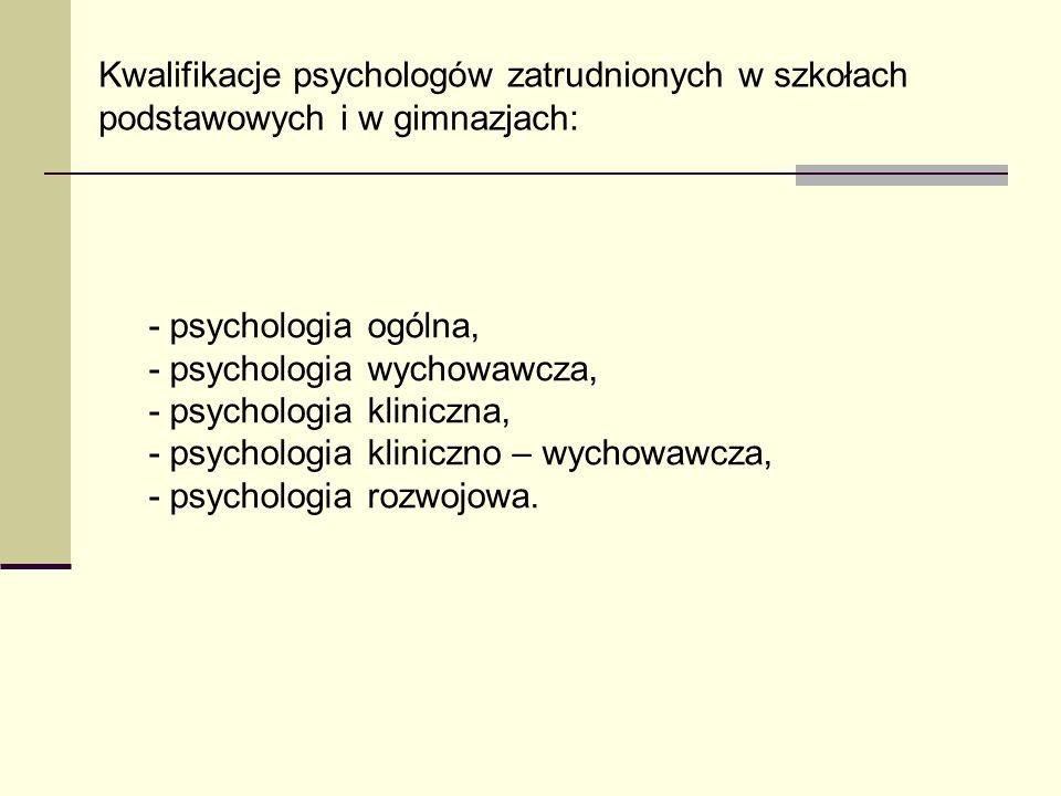 Kwalifikacje psychologów zatrudnionych w szkołach podstawowych i w gimnazjach: - psychologia ogólna, - psychologia wychowawcza, - psychologia kliniczn