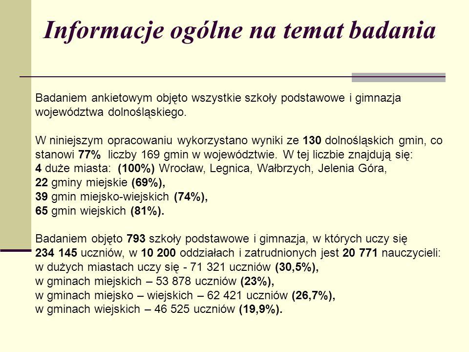 Informacje ogólne na temat badania Badaniem ankietowym objęto wszystkie szkoły podstawowe i gimnazja województwa dolnośląskiego. W niniejszym opracowa
