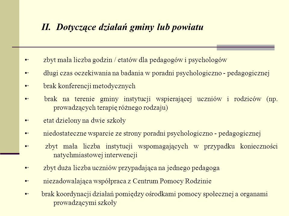 · zbyt mała liczba godzin / etatów dla pedagogów i psychologów · długi czas oczekiwania na badania w poradni psychologiczno - pedagogicznej · brak kon