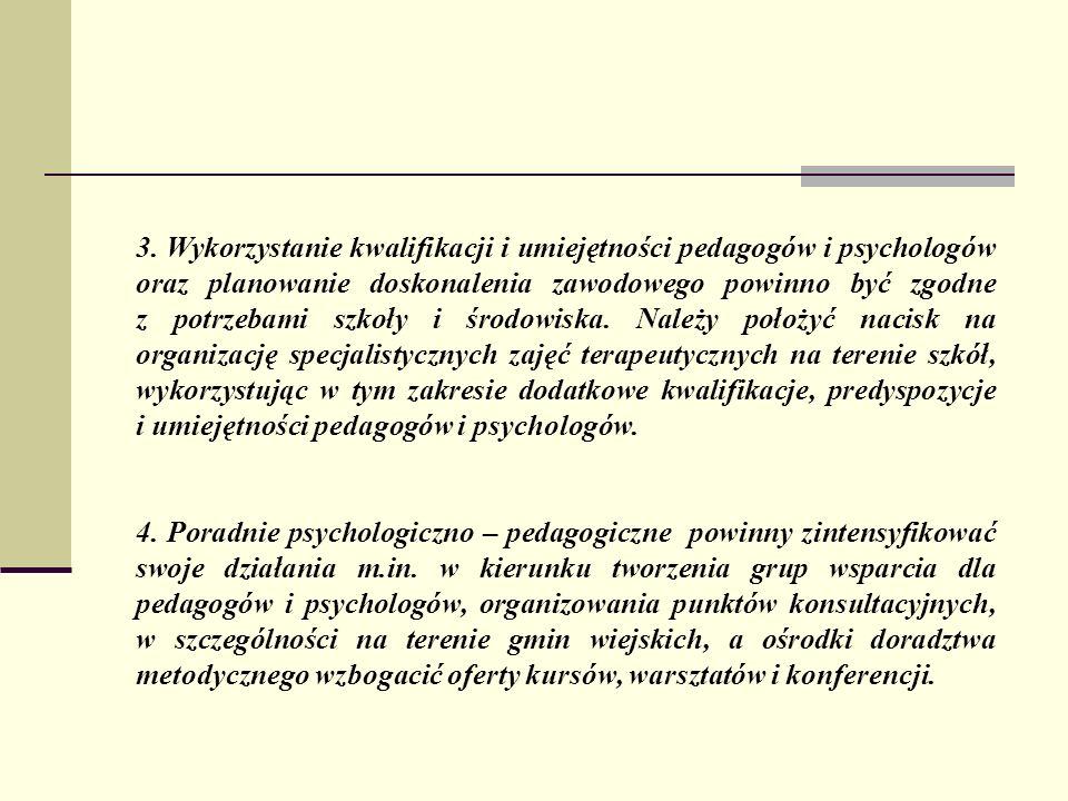3. Wykorzystanie kwalifikacji i umiejętności pedagogów i psychologów oraz planowanie doskonalenia zawodowego powinno być zgodne z potrzebami szkoły i