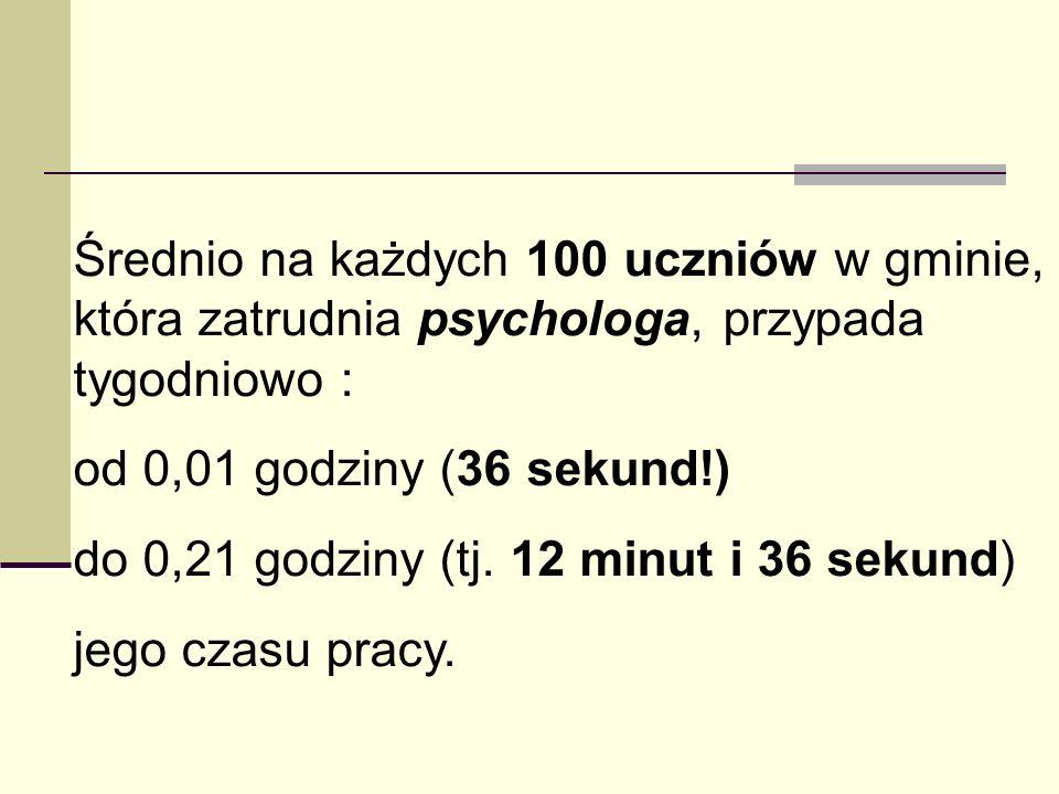 Średnio na każdych 100 uczniów w gminie, która zatrudnia psychologa, przypada tygodniowo : od 0,01 godziny (36 sekund!) do 0,21 godziny (tj. 12 minut