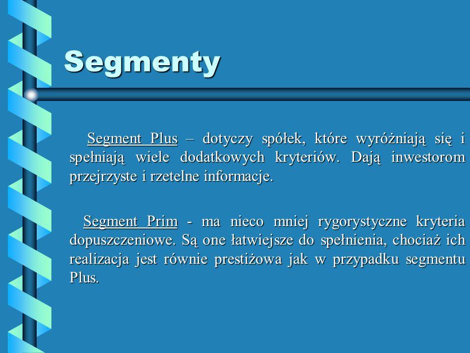 Segmenty Segment Plus – dotyczy spółek, które wyróżniają się i spełniają wiele dodatkowych kryteriów.
