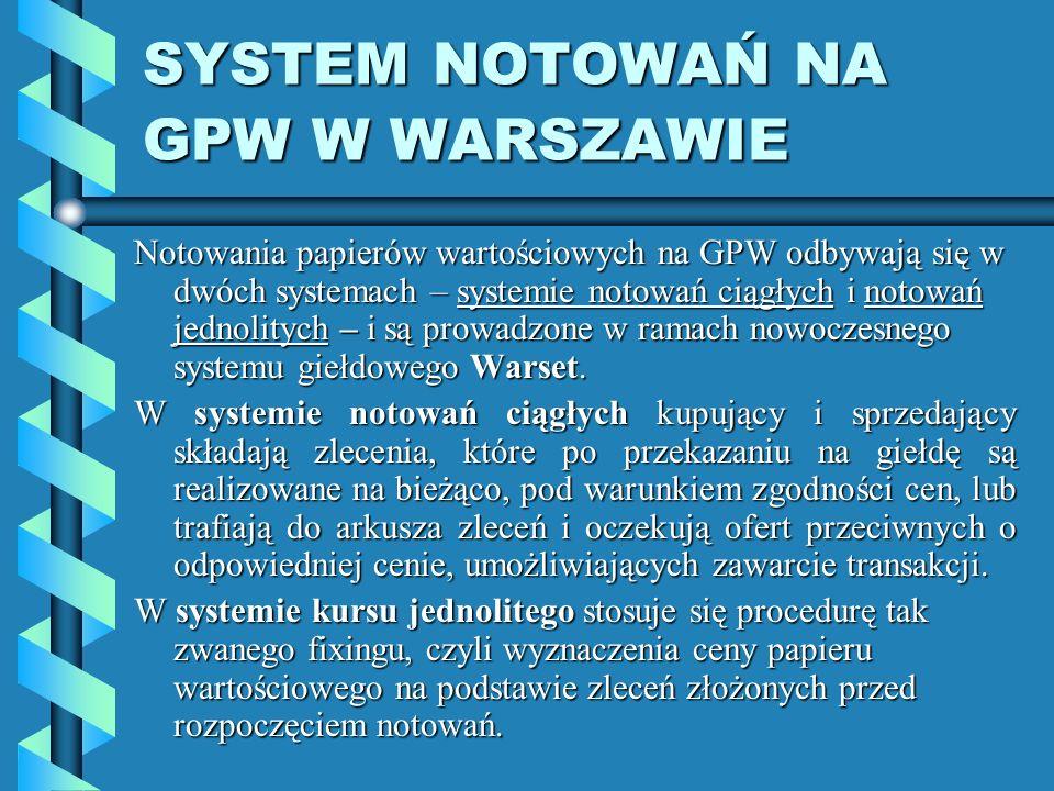 SYSTEM NOTOWAŃ NA GPW W WARSZAWIE Notowania papierów wartościowych na GPW odbywają się w dwóch systemach – systemie notowań ciągłych i notowań jednolitych – i są prowadzone w ramach nowoczesnego systemu giełdowego Warset.