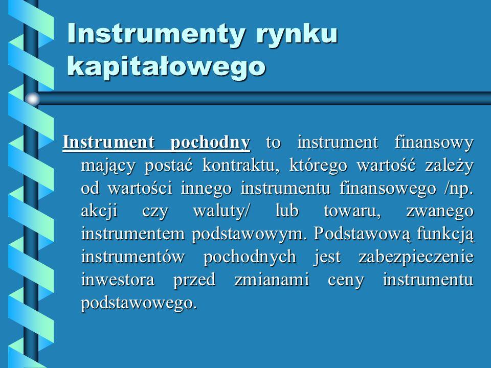 Instrumenty rynku kapitałowego Instrument pochodny to instrument finansowy mający postać kontraktu, którego wartość zależy od wartości innego instrumentu finansowego /np.