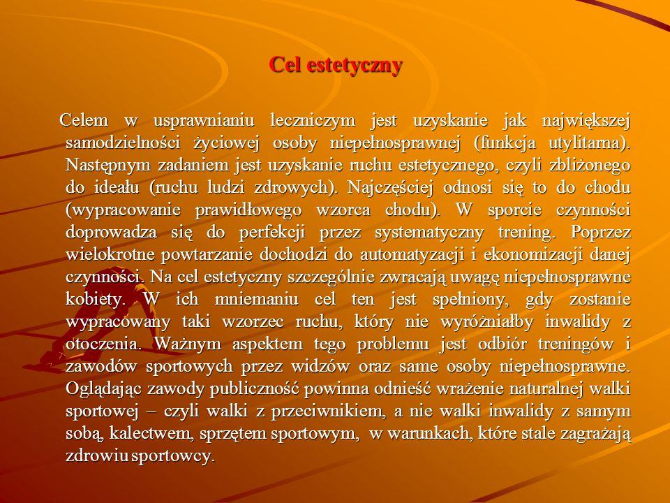 Cel estetyczny Celem w usprawnianiu leczniczym jest uzyskanie jak największej samodzielności życiowej osoby niepełnosprawnej (funkcja utylitarna). Nas
