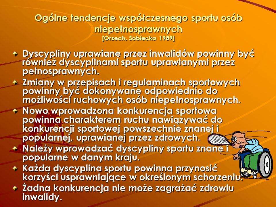 Ogólne tendencje współczesnego sportu osób niepełnosprawnych [Orzech, Sobiecka 1989] Dyscypliny uprawiane przez inwalidów powinny być również dyscypli