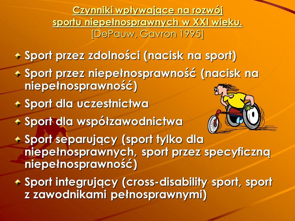 Czynniki wpływające na rozwój sportu niepełnosprawnych w XXI wieku. [DePauw, Gavron 1995] Sport przez zdolności (nacisk na sport) Sport przez niepełno