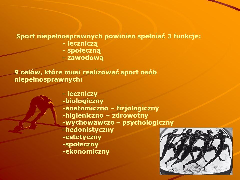 Sport niepełnosprawnych powinien spełniać 3 funkcje: - leczniczą - społeczną - zawodową 9 celów, które musi realizować sport osób niepełnosprawnych: -