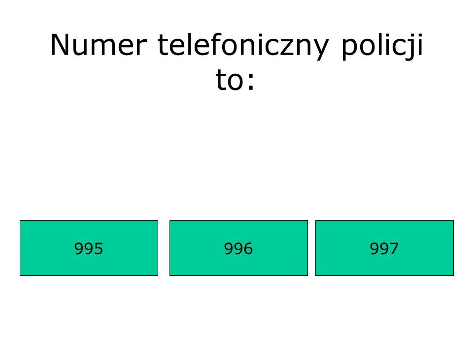 Numer telefoniczny policji to: 995997996