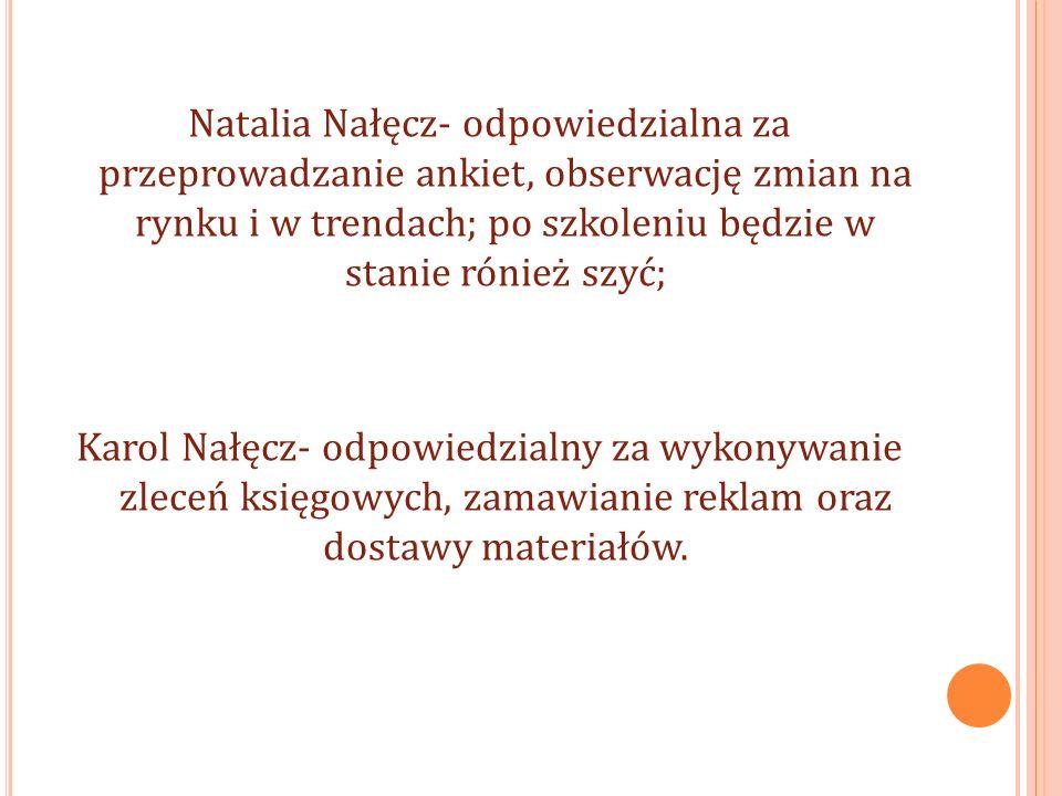 Natalia Nałęcz- odpowiedzialna za przeprowadzanie ankiet, obserwację zmian na rynku i w trendach; po szkoleniu będzie w stanie rónież szyć; Karol Nałęcz- odpowiedzialny za wykonywanie zleceń księgowych, zamawianie reklam oraz dostawy materiałów.