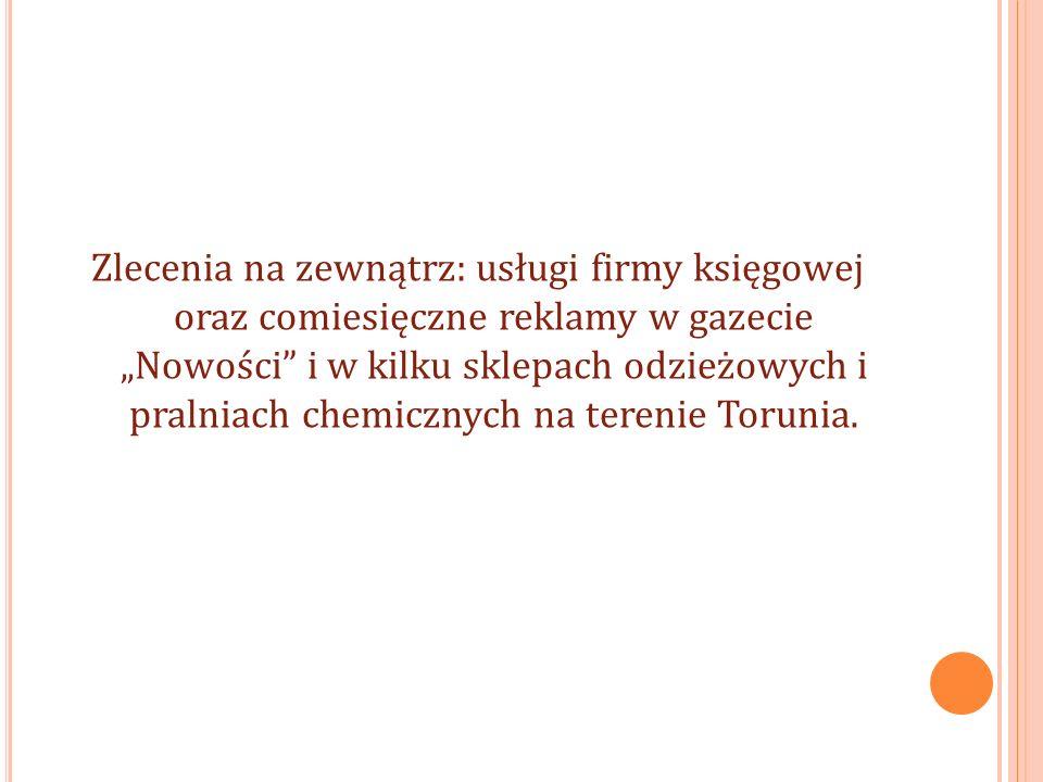 Zlecenia na zewnątrz: usługi firmy księgowej oraz comiesięczne reklamy w gazecie Nowości i w kilku sklepach odzieżowych i pralniach chemicznych na terenie Torunia.
