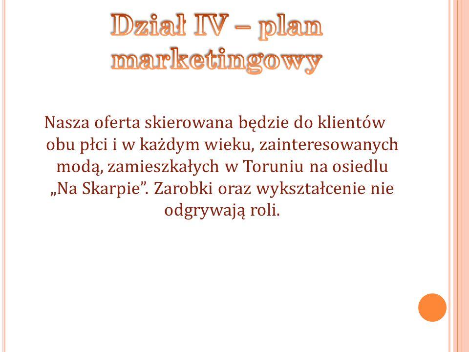 Nasza oferta skierowana będzie do klientów obu płci i w każdym wieku, zainteresowanych modą, zamieszkałych w Toruniu na osiedlu Na Skarpie.