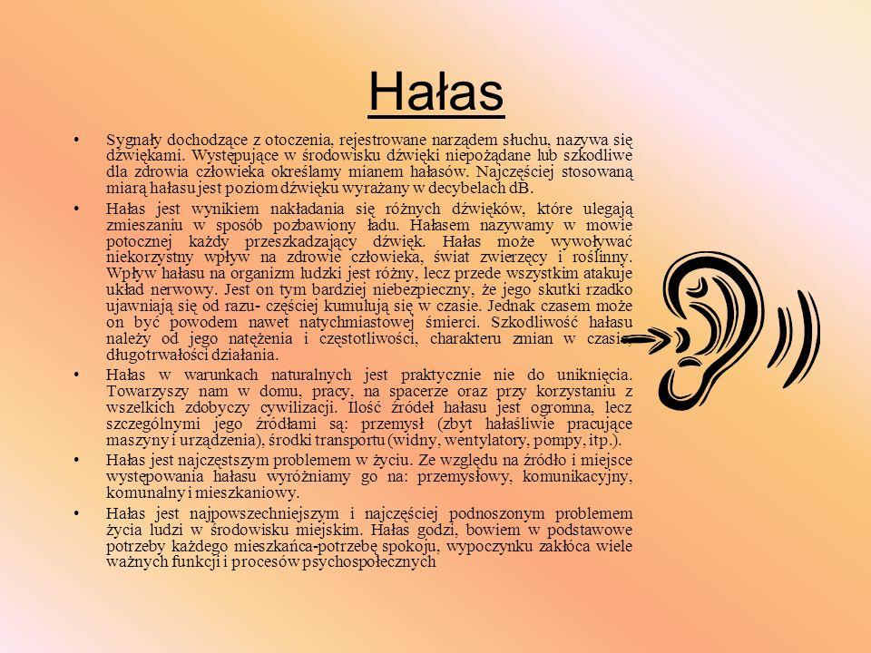 Hałas Sygnały dochodzące z otoczenia, rejestrowane narządem słuchu, nazywa się dźwiękami. Występujące w środowisku dźwięki niepożądane lub szkodliwe d