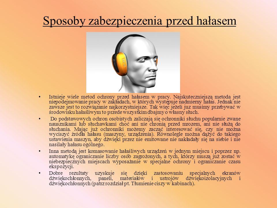 Sposoby zabezpieczenia przed hałasem Istnieje wiele metod ochrony przed hałasem w pracy. Najskuteczniejszą metoda jest niepodejmowanie pracy w zakłada